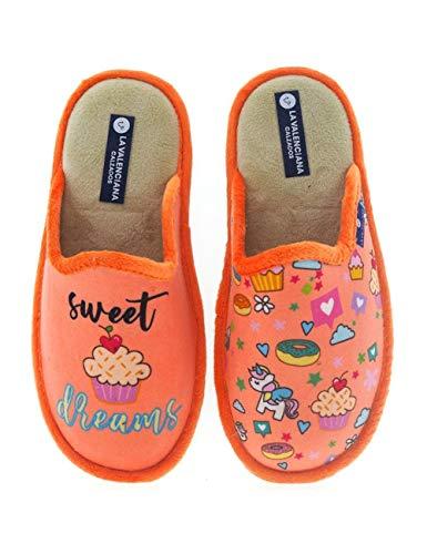 Zapatillas De Divertidas Y Originales Fabricadas En España Valenciana Dulces - Color - Coral, Talla...
