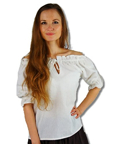 Leonardo Carbone Mittelalter Marktbluse - Damen Janine M/weiss