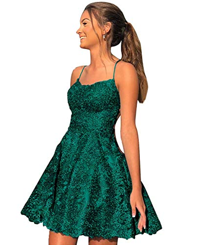 Homecoming Dresses Short Prom Dress Lace Cocktail Dress Backless Prom Dress for Party Green