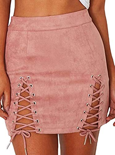 Plus Size Lace Up High Waist Faux Suede Split Tight Stretch Mini Skirt (3X, Pink)
