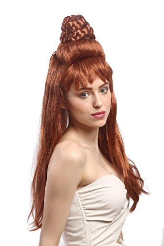 WIG ME UP ® - 91207-ZA130B Peluca Mujeres Carnaval Halloween Peinado Torre Colmena elaborado, moño, Trenzado, Largo, Liso, marrón Claro Jeannie 1960