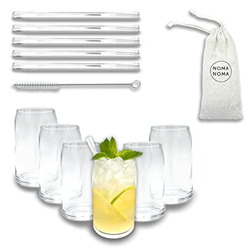 Vasos en forma de lata, juego de 6 con pajitas, 300 ml, vasos para zumo, agua, bebidas largas, cócteles, vodka, whisky, café helado, perfecto para el hogar, restaurantes y fiestas