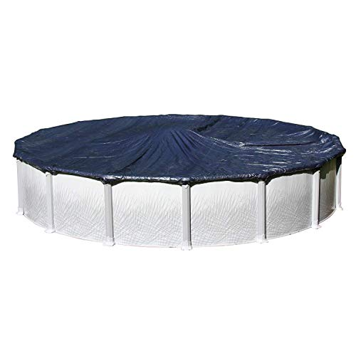 Winter Cover for 24-Foot Round Above Ground Swimming Pools | Total Cover Size 27-Foot | Blue/Black Reversible | 3-Foot Additional Material for Secure Installation