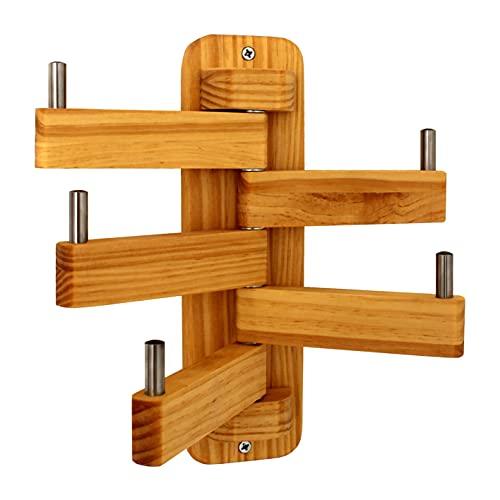 NatVip. Perchero de pared en madera maciza de pino con cinco brazos giratorios. Estilo nórdico para entrada, pasillo, baño, dormitorio, cocina u oficina. Altura 28 centímetros.