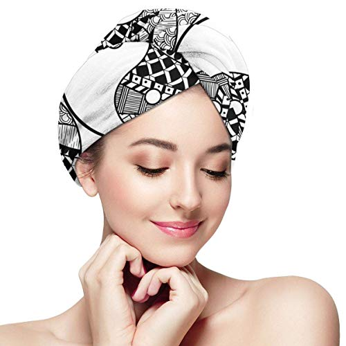 Shichangwei Sun and Moon - Toalla de microfibra para el cabello seco, gorro de baño, toalla de secado con botón