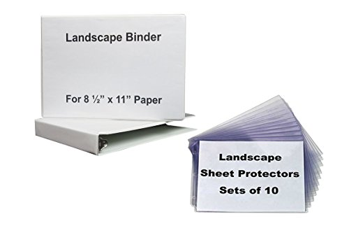Landscape Binder, 1 Inch Round Ring, White Vinyl with 1, 10 Set of Sheet Protectors Crystal Clear, Both Horizontal Format