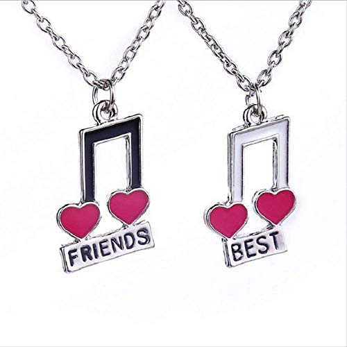 ACCTSY Fashion Love Heart Shaped Miuce Note Pandent 2 Pcs/Set Splicing Necklace Color Painting Oil Best Friends Necklace