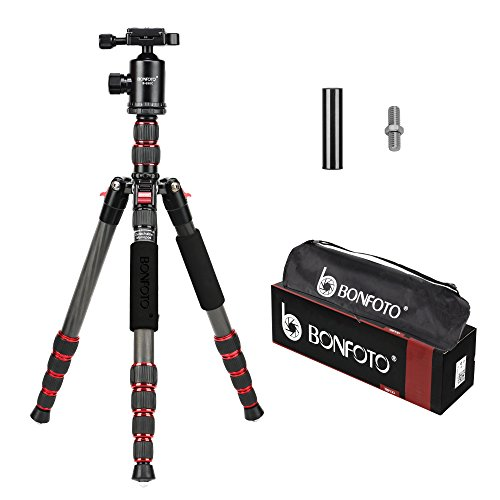 BONFOTO B690C Lightweight Carbon Fiber Portable Tripod Compact Travel Camera Tripod Monopod with 360 Degree Ball Head,1/4' Quick Release Plate and Carry Bag for DSLR Cameras