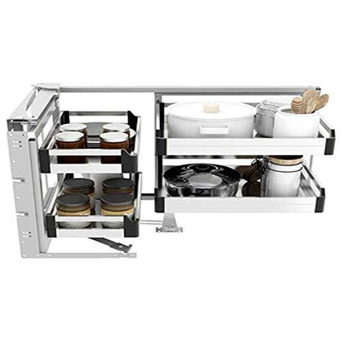 Blind Corner Cabinet Pull-Out Corner Organizer, Swivel Corner Cabinet for Kitchen Base Cabinet Kitchenware Storage