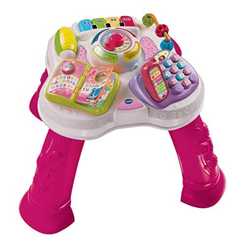 VTech - Mesita parlanchina 2 en 1, Juguete para bebes +9 meses, Mesa de actividades con panel extraíble, 6 zonas interactivas, color rosa, embalaje sostenible, SPB, versión ESP (3480-148087)