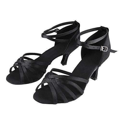 Keen so 1 Pair Dance Shoes, Soft Comfortable Women's Professional Latin Dance Shoes Satin Salsa Ballroom Wedding Dancing Shoes Fashion 7cm High Elegant Heel Dance Shoe for Women(39-Black)