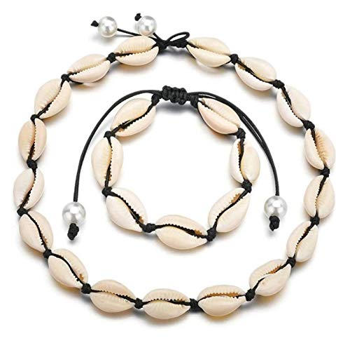 gujiu Pulsera Cuentas de cáscara de mar Natural Hecho a Mano Hawaii Wakiki Beach Gargantilla Collar Pulsera Ajustable Tobletle for niñas Damas (línea Blanca) (Color : Black Line)