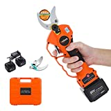 Kebtek Professional Pruning Shears Battery Powered, 25V Cordless Electric Pruning Shears Heavy Duty 2Pack 2Ah Rechargeable Lithium Battery with Brushless Motor,40mm [1.57 Inch] Cutting Diameter