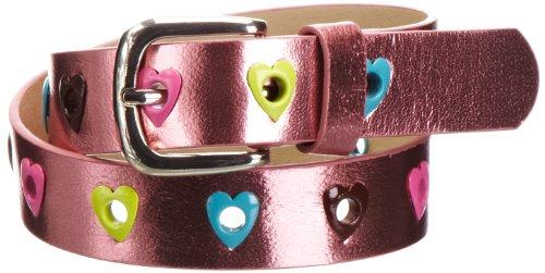 Playshoes Mädchen Gürtel 601330 Mädchen Glitzer Gürtel mit Herzchen, Gr. 65, Mehrfarbig (pink)
