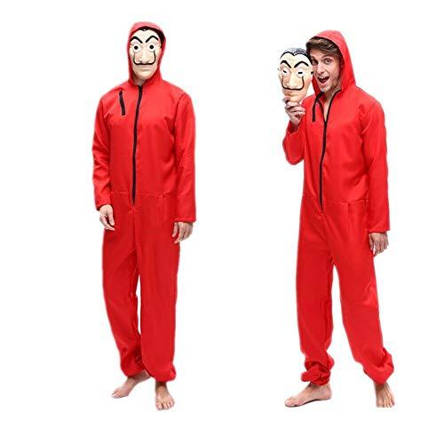 La Casa De Papel Kostüm Unisex Film Cosplay Roter Halloween Kostüm Overall mit Dali Maske (M)