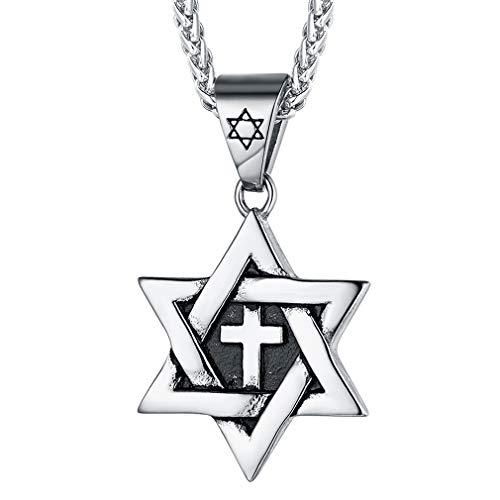 FaithHeart Estrella de David Hexagrama Collar Acero Inoxidable Judía Cadena Ajustable Espiga Joyería Religiosa de Regalo Milagroso Talismán de Protección para Hombres y Mujeres