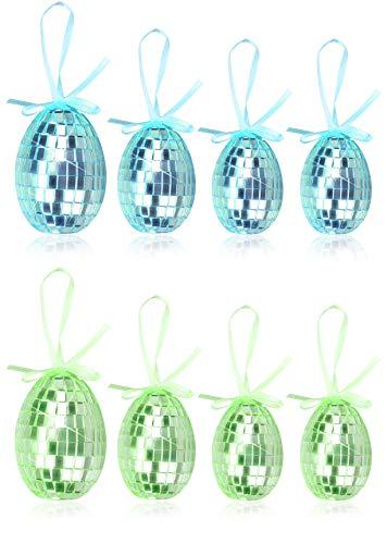 com-four® 8X Uova di Pasqua da Appendere in Diverse Dimensioni - Decorazioni pasquali in Grandi Colori - Decorazioni pasquali con Effetto Mosaico (08 Pezzi - mescola Blu + Verde)