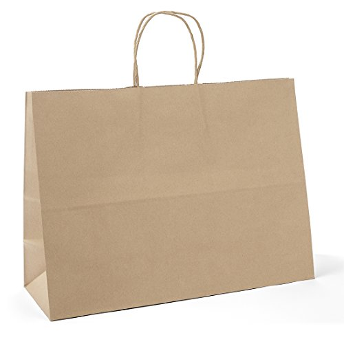 Halulu 25 Pcs Kraft Paper Handle Shopping Reusable Gift Merchandise Carry Retail Bags (16 x 6 x 12, Brown) by Halulu