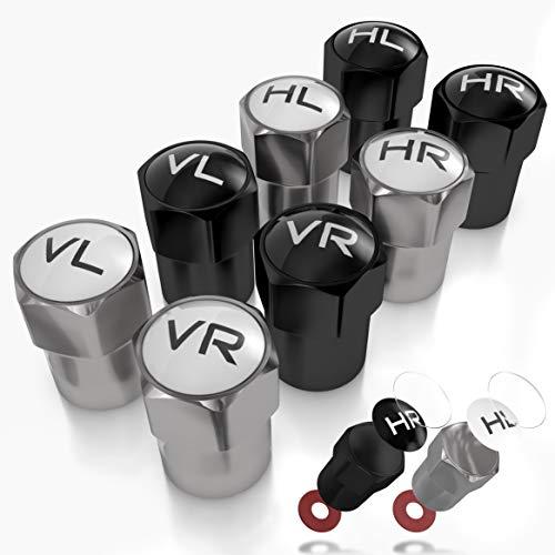JK Trade® Nya 8 x ABS-plast ventilkåpor bil för däckmarkering med integrerad tätning för lagrade vinter- och sommardäck, universal, biltillbehör (blandad V2)