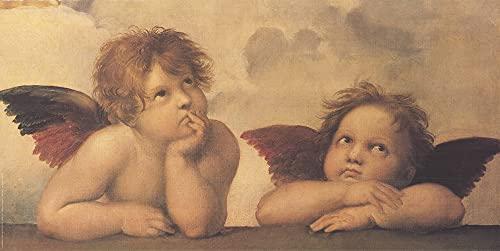 "RAFFAELLO SANZIO Angeli Cherubini 27.5"" x 55"" Offset Lithograph Romanticism Neutral, Pastel, Red, Black & White, Gray"