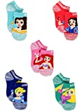 Disney Princess Girls Toddler 5 pack No Show Socks (6-8 Girls (Shoe: 10.5-4), Pink/Multi No Show)
