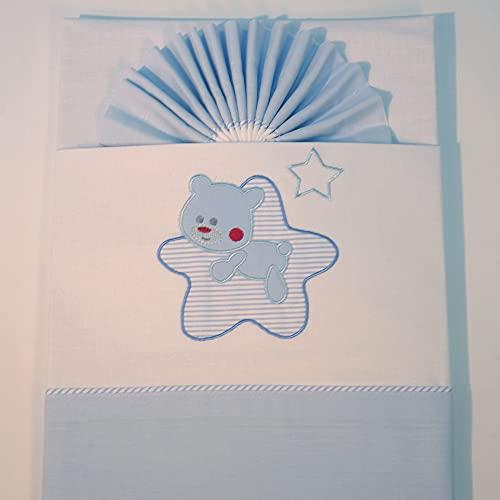 10XDIEZ Juego de sábanas cuna franela star blanco/azul | (Cuna - 60x120 cm - Blanco)