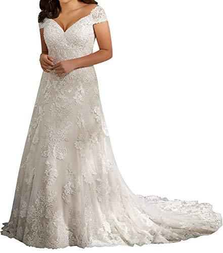 V-hals vintage kant bruidsjurken bruiloftsjurken grote maten dames bruidsmode lang A-lijn