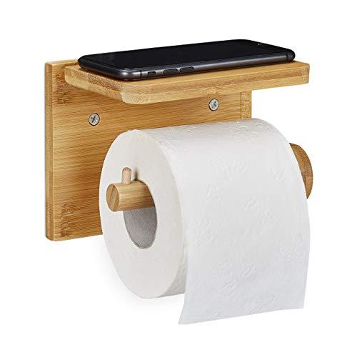 Relaxdays Toilettenpapierhalter mit Ablage, für Handy & Feuchttücher, Bambus Klopapierhalter, HBT 12x16x10,3 cm, natur