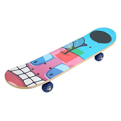 Alomejor Tragbares Skateboard Wood Beginner Skateboard Komplettes Longboard mit 4 Rollen für Kinder