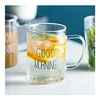 YVCHEN ギフト用クリエイティブグラスコーヒーミルクマググッドモーニング朝食カップカクテルマグ450ミリリットル (Color : Style A)