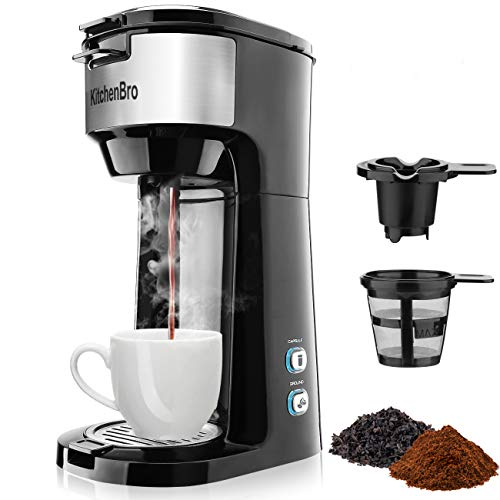 KitchenBro Single Serve Coffee Maker for K Cup Pods, Ground Coffee & Tea. also Called Single Cup Coffee Maker or One Cup Coffee Maker. Thermal Drip Instant 2-IN-1 Coffee Maker Brewer with Upgraded Anti-spill Reusable Filter. with Self Cleaning Function and Brew Strength Control
