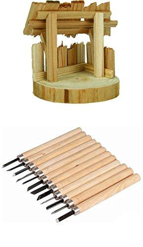 Unbekannt Krippenstall Holzstall ohne Zubehör, 8x8x9cm geeignet für 4cm Figuren mit 12tlg. Holzschnitzmesser Set
