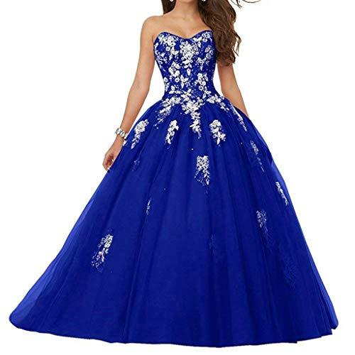 Vantexi Damen Spitze Tüll A-Linie Ballkleid Lang Abendkleider Brautkleider Quinceanera Kleider Blau Größe 44