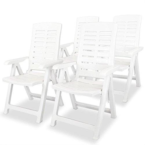 Ksodgun Garten-Liegestühle 4 STK. Sonnenliege Sonnenstuhl Klappstuhl Wetterfest Hochlehner Relax Liege Deckchair Kunststoff Weiß