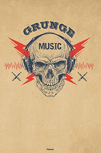 Grunge Music Planner: Skull with Headphones Grunge Music Calendar 2020 - 6 x 9 inch 120 pages gift