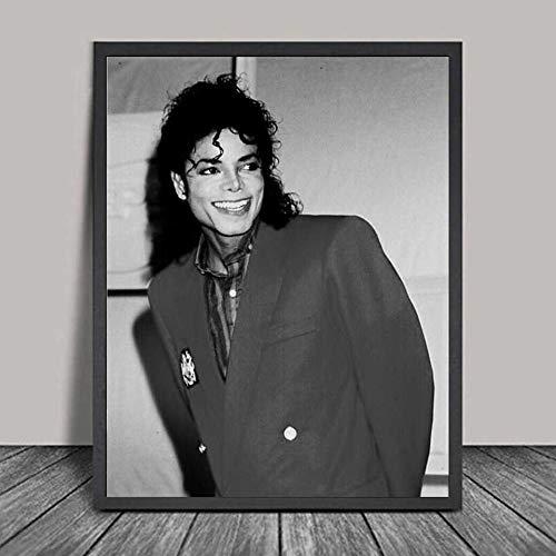 qiaolezi Carteles de Michael Jackson Impresiones Pintura de Pared en Blanco y Negro decoración póster Pintura de Pared decoración del hogar A479 50 × 70 CM sin Marco