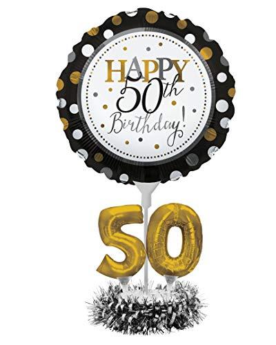 Creative Converting 317307 Happy 50th Birthday Balloon Centerpiece Black and Gold for Milestone Birthday Black & Gold, 18