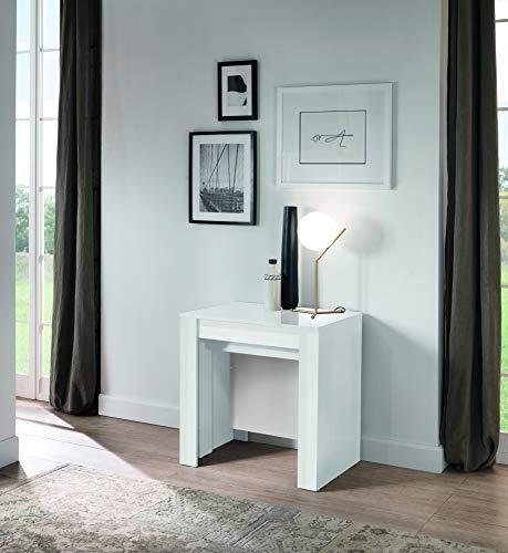 Tavolo consolle allungabile fino a 250 cm 79 x 54 x 78 cm Salvaspazio, Multiuso per cucina, sala da pranzo, soggiorno, zona living (Bianco laccato lucido)