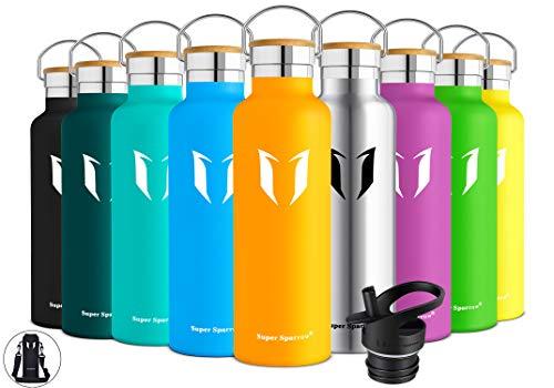 Super Sparrow Trinkflasche Edelstahl Wasserflasche - 350ml - Isolier Flasche mit Perfekte Thermosflasche für Das Laufen, Fitness, Yoga, Im Freien und Camping | Frei von BPA (Mango)