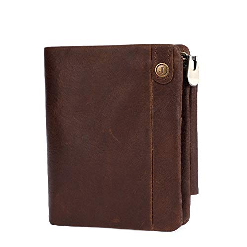 JIANGXIUQIN Men's Wallet Leather Men's Wallet Multi-Card Anti-Magnetic Clutch Bag Short Coin Purse Men's Bag Best Choice for Work Life Travel (Color : Chocolate Color)