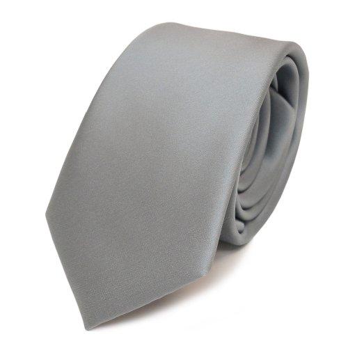 TigerTie schmale Satin Krawatte in grau hellgrau silber einfarbig uni
