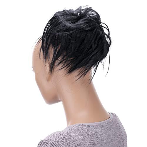 PRETTYSHOP XXL Haarteil Haargummi Hochsteckfrisuren Brautfrisuren Voluminös Gewellt Unordentlich Dutt Schwarz G1F