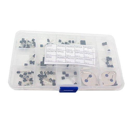 Transistor Kit, 15 Type 100 Piece NPN PNP FET Darlington and Power Transistor