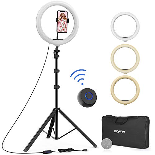 "WONEW 12"" Selfie Ring Light with Tripod Stand, Flexible Phone Holder, Bluetooth Remote Control and Carry Bag for Live Stream/Makeup/YouTube Video/Photography, Compatible with iPhone Xs Max XR Android"