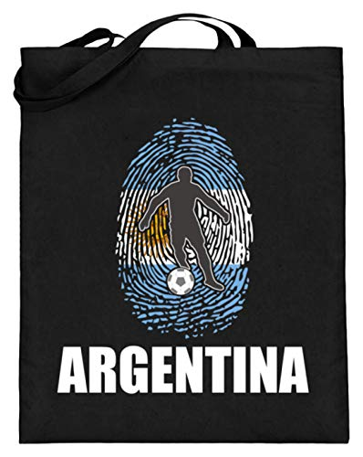 Bolsa de yute de alta calidad (con asas largas) – Camiseta del Mundial de Argentina de Rusia 2018 para fans de Argentina con diseño nacional, color Negro, talla 38cm-42cm