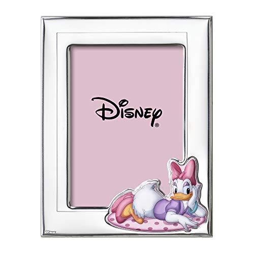 Disney Baby - Paperina Daisy Duck - Cornice Porta Foto in Argento con dettagli dipinti a Colori da Tavolo o Comodino per la Cameretta della Bambina perfetta come Idea Regalo Battesimo o Compleanno