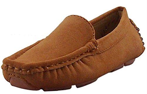 DADAWEN Girl's Boy's Soft Suede Leather Slip-on Oxford Flats Comfort Loafer Boat Dress Shoes Brown US Size 8 M Toddler