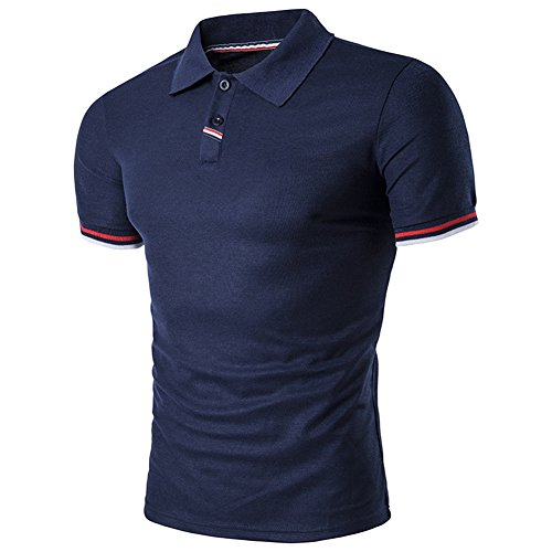 BicRad Herren Shirt Polo Kurzarmshirt Slim Polohemden Baumwolle, XL, B40 Marine