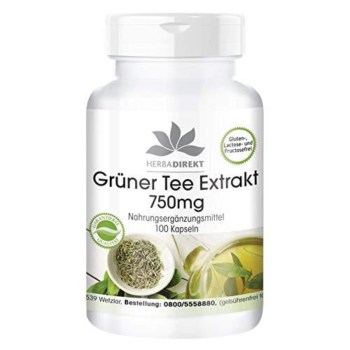 Extracto de Té verde 750mg - Altamente dosificado - Vegano - 50% EGCG - 100 cápsulas