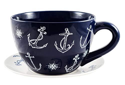 Ivyline Blue Anchor Extra Large Teacup and Saucer Planter Plant Pot Flower Pot 25cm